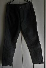 Mens 33 x 31 FMC Pakistan Classic Straight Black Leather  Lined Motorcycle Jeans