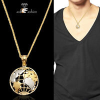 10k Two Tone Gold Mens Womens Earth Map Fashion Charm World Globe Pendant 0.90G