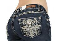 Sexy Couture Women's 446-PB Cross Medium Wash Denim Cross Boot Cut Jeans 3-17