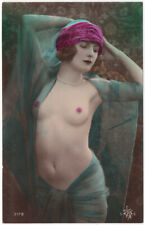 French 1920s Nude Hand Tinted Art Deco Postcard Real Photo Beauty Glamour