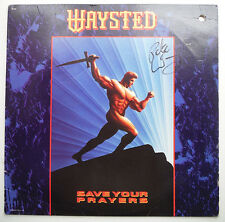 """Signed PETE WAY on Album Cover WAYSTED """"SAVE YOUR PRAYERS"""" 1986_UFO Bassist"""