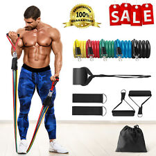 Resistance Tubes Bands Set Door Ankle Straps ABS Exercise At Home Workout Gym