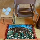 """VINTAGE Multicolor Fringed Edges Leopard Small Accent Light Rug """"Made in France"""""""