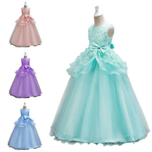 Flower Girls Long Dress Wedding Pageant Party Prom Gown Kids Princess Communion