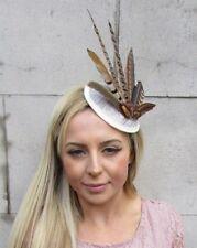 Cream Brown Pheasant Feather Pillbox Hat Fascinator Races Hair Clip Sinamay 5601