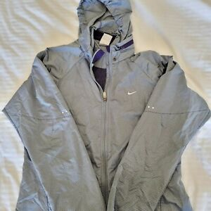 Nike Storm-fit Removable Hood Windbreaker Womens Purple Grey Checkered Size L