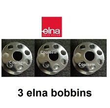 3 ELNA METAL SPOOL BOBBINS fit old Swiss Sewing Machine Only ZZ/SP/SU/STP +
