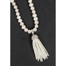 EQUILIBRIUM JEWELLERY SILVER PLATED PEARL TASSEL NECKLACE