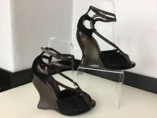 BOTTEGA Veneta NEW Black & brown Peep Wedge Shoes Size 37.5 Uk 4.5 Rrp £630
