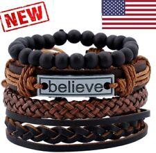Leather Bracelet Set Black brown Tribal Cuff Wristband  Men Women Bangle gothic