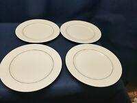 "Vintage Gibson""HERITAGE GOLD""Set/4 Dinner Plates White/Gold Band/Teardrop Border"