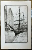 S Chester Danforth b.1896, Byrd Flagship, Chicago, pencil signed etching
