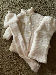 Vintage Infant Friemanit 100% Soft Acrylic Coat, Leggings, Hat/Scarf - Pale Pink