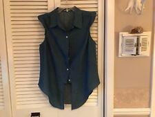 Gianni Bini sz large cap sleeve button down denim blue shirt