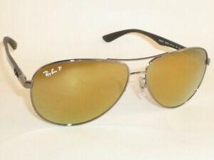 New RAY BAN Sunglasses TECH Gunmetal  RB 8313 004/N3  Polarized Gold Mirror 58mm