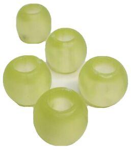"Five 1"" Light Green Beads Large Hole Set of 5 Plastic"
