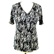 Floral Plisse Pleat Crossover Top 10 12 Black White Short Sleeve Satin Summer