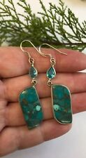 Copper In Turquoise 925 Silver Earrings India Summer Reiki Natural Gemstone