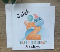 Personalised Dinosaur Birthday Card 2nd age 2 Boy Son Nephew Grandson Brother