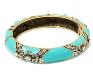 "Heidi Daus ""Newport Chic II"" Crystal and Enamel Bangle Bracelet-Turquoise-NEW"