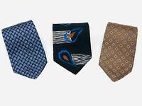 LOT OF 3 JOHN HENRY 100% Silk Men's Neck Ties - MADE IN USA