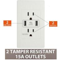 Wall Socket 2 USB Port Outlet Charger AC/DC Power Adapter US Plug US A+++