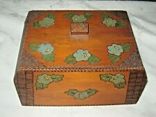 A Lovely Early Australian Pokerwork Art Trinket Box/Tea Caddy