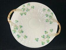 Belleek Irish Porcelain Shamrock Basket Weave Handled Cake Plate-Black Stamp