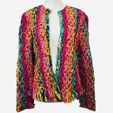 Vintage Sandy Starkman Jacket Pink Green Ribbon Festival Blazer Art To Wear Sz M