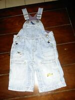 Baby Gap Boy Blue Denim Jean Overall Pants 6-12 Months Lined