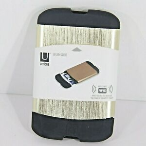 Umbra Bungee Credit Card Aluminum Case w/ Anti-Theft RFID security, in Gold NEW!
