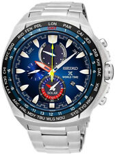 Seiko Prospex SPECIAL EDITION Solar World Time Steel Watch. 100m WR. SSC549P