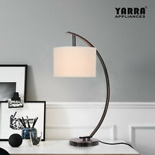 NEW Desk Table Lamp Fabric Shade Metal Base Elegant for Home Decoration-Bronze