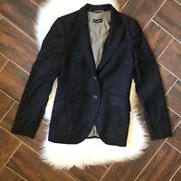 MASSIMO DUTTI Blazer Size US 8 Black Womens Jacket MSRP $245 Pinstripe Wool