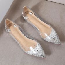 Womens Ballet Flats Casual Rhinestone Pointy Toe Clear Pumps Loafers Shoes Chic