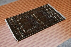 Living Room Carpet Hand Knotted Brown Color 2.6'x4' Rugs Wool Oriental Geometric
