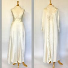 Vintage Olga Ivory Nightgown and Robe Peignoir Bridal Trousseau Sz S