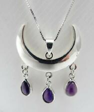 Wiccan Moon necklace with Amethyst sterling silver .925 wicca pagan jewellery