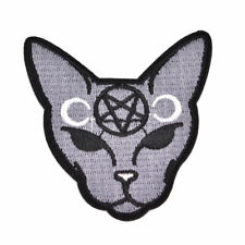 Goth Punk Cat Embroidery Sew On Iron On Patch Applique Badge Fabric Craft 1pcs