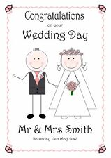 WEDDING DAY CARD PERSONALISED CONGRATULATIONS PINK BRIDE & GROOM LOVE NAMES DATE
