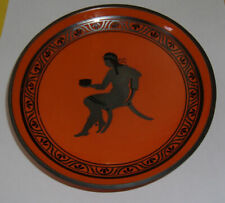 Orange and Black East Indian Plate 1940's Silver Figure With Head Dress See!