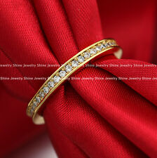 9K 9CT WHITE ROSE YELLOW GOLD GF CZ ANNIVERSARY ETERNITY WEDDING BAND RINGS GIFT