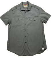 ♻️➡️ Mens Free Planet Dark Gray Button Up Short Sleeve Shirt Size L Cotton Blend