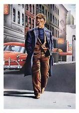MOVIE POSTER~James Dean Ledo Club Smoking OverCoat Walking Print Vintage Look~