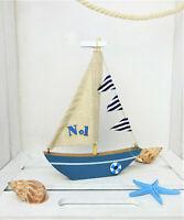 Deko Boot Segelschiff Segelboot Maritim Holz blau 20 cm