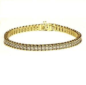 "14k yellow white gold .96ct I1-H diamond tennis bracelet 11.7g estate 7 1/4"""