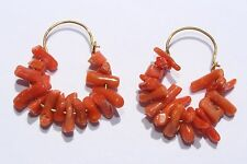 Beautiful Vintage Natural Red Coral Branch Gold Hoop Artisan Earrings