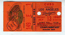 1967 Baseball Ticket Los Angeles Dodgers vs Chicago Cubs