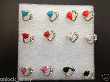 The Heart 3Angle Swarovski Crystal Handmade Stud Earrings Mix Colors 6 Pairs A34