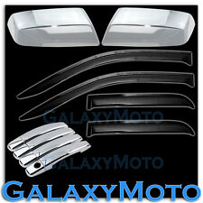 14-15 GMC Sierra 1500 Chrome Half Mirror+4 Door Handle+Black Smoke Window Visor